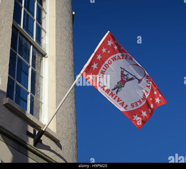 Bridgwater, Somerset, SW England - Guy Fawkes Carnival Flag - Stock Image