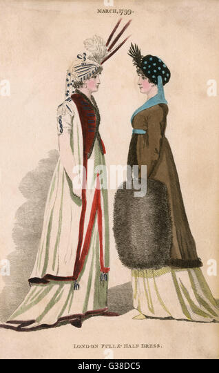 Two women in London fashions   - full and half dress       Date: 1799 - Stock Image