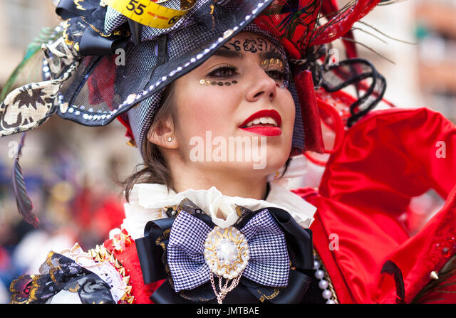 Badajoz, Spain - February 28, 2017: Young pretty girl portrait at Carnival parade of Badajoz. This is one of the - Stock Image