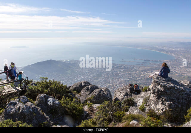The top of Table Mountain , Cape Town , South Africa - Stock Image