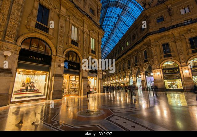 Galleria Vittorio Emanuele II gallery, Milan, Lombardy, Italy - Stock Image