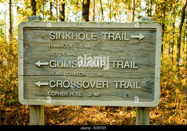 Florida hiking sign Leon Sinks Geological Area panhandle Tallahassee fl fla Woodville Karst Plain - Stock Image