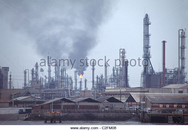 the pollution in the large-scale industrial district - Stock Image
