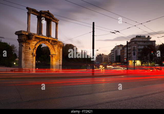 Arch of Hadrian and Leoforos Vasilisis Amalias street in Athens - Stock Image