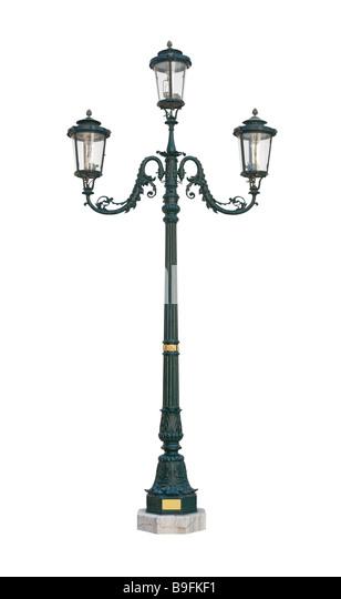 Street light lamp post isolated on white background - Stock Image