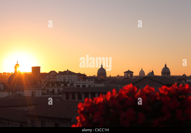 Rome, Capitol hill, Piazza del Campidoglio, view outlook over Rome sunset - Stock Image