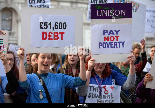 London, UK. 2nd December, 2015. Student nurses protest against removal of NHS bursaries outside the Department of - Stock Image