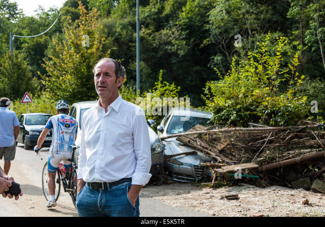 Refrontolo, Treviso, Italy. 3rd Aug, 2014. Cloudburst at Refrontolo; 4 people deaths and several missing : The President - Stock Image