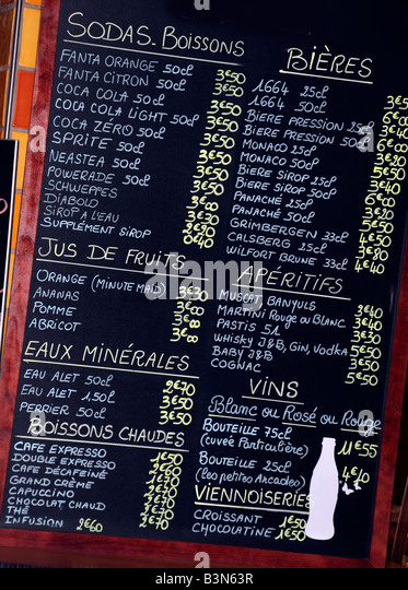 FRENCH DRINKS MENU BOARD - Stock Image