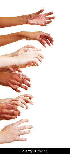 Many hands reach out to the side - Stock-Bilder