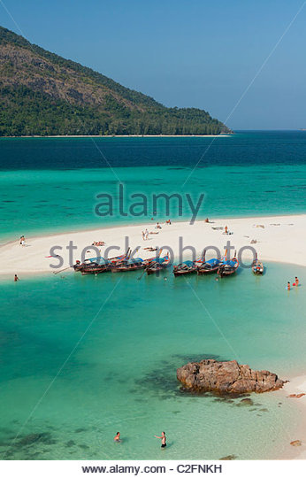 White strip of sand on Ko Lipe,Thailand - Stock Image