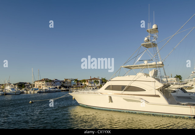 Fishing boats docked La Marina, Casa de Campo resort, La Romana, Dominican Republic - Stock Image