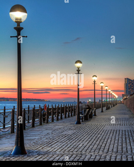 Albert Dock at Nighttime liverpool Merseyside England UK - Stock Image