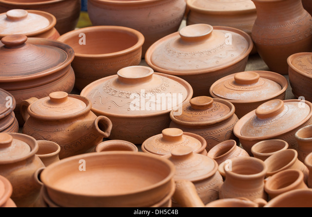 earthen clay vases - Stock Image
