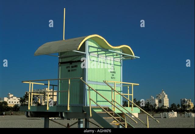 Miami Florida FL South Beach Green Life Guard House - Stock Image
