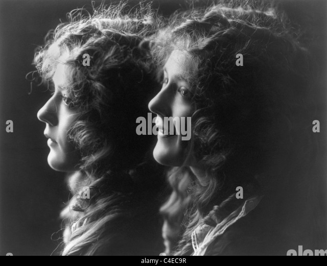 Vintage composite photo c1914 of Canadian-born actress Mary Pickford (1892 - 1979) featuring two portrait images - Stock Image