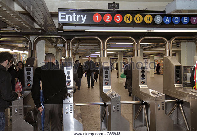 Manhattan New York City NYC NY Midtown MTA New York City Subway rapid transit system Times Square Station A C E - Stock Image