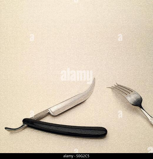Digitally manipulated image showing cut throat razor knife and fork giving a fantasty futuristic steampunk type - Stock Image