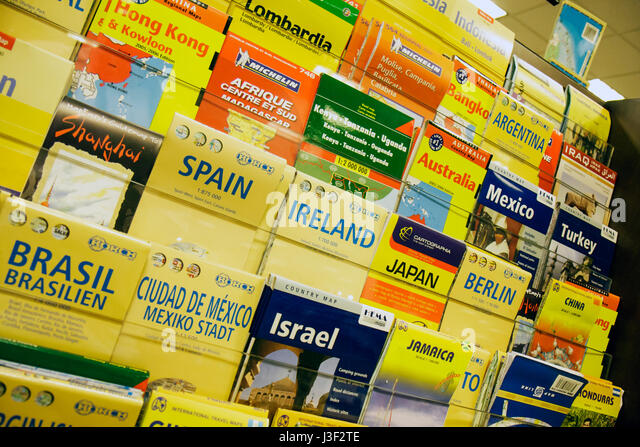 Miami Coral Gables Miami Florida Barnes and Noble bookstore book maps country display city information direction - Stock Image