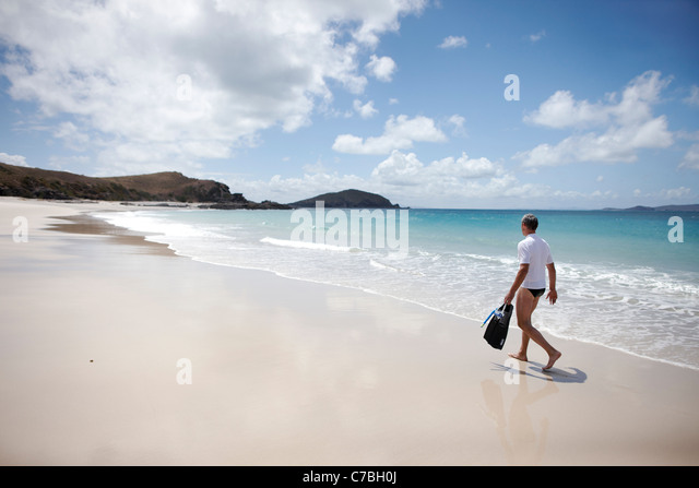 Tourist with snorkelling gear on Middle Island beach Island next to Great Keppel Island Great Barrier Reef Marine - Stock Image