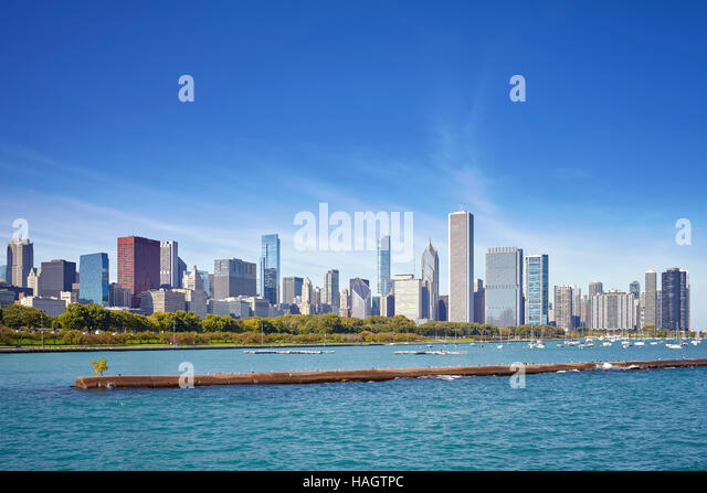 Chicago waterfront and city skyline on a sunny day, USA. - Stock Image