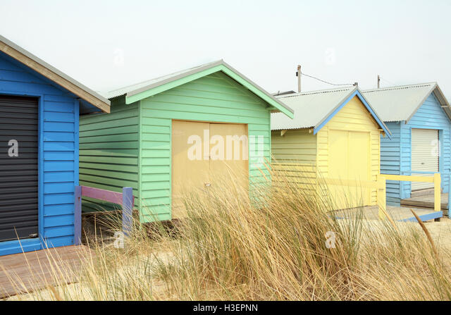 Colorful Beach Huts at Brighton Beach Near Melbourne, Australia - Stock Image