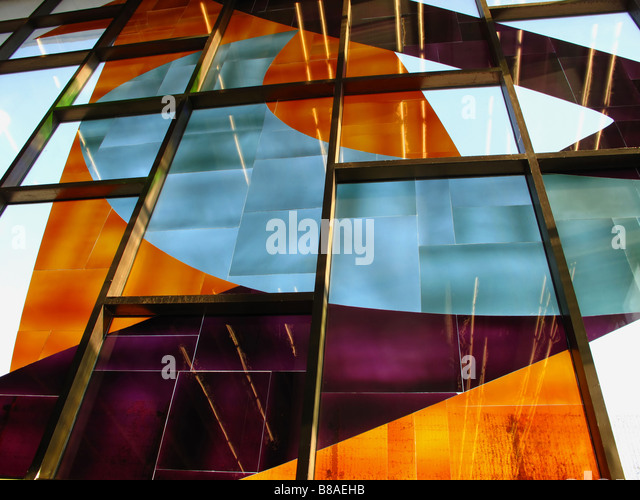 Stained glass in a subway station in Montreal - Stock Image
