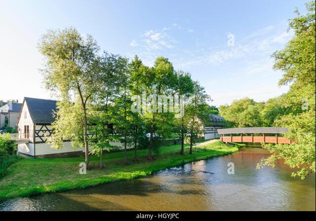 Weischlitz: estate 'Altes Gut' at river Elster, Vogtland, Sachsen, Saxony, Germany - Stock Image