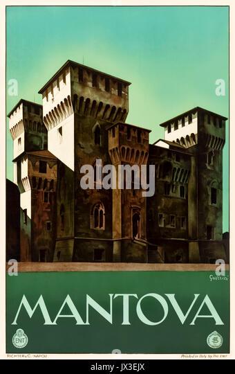 'Mantova' (Mantua) 1930s Tourism Poster featuring San Giorgio Castle. Artwork by Guerrini for Ferrovie dello Stato - Stock Image