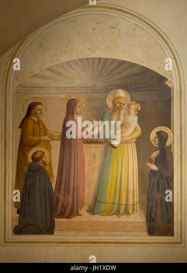 Presentation of Jesus at the Temple, by Fra Beato Angelico, Cell 10, 1440-1442, Convent of San Marco, Florence, - Stock Image