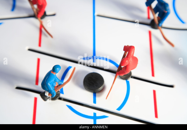 Concept image to signify competition of table hockey game - Stock Image