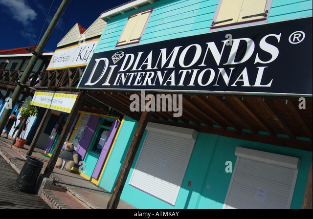 Diamonds International, Redcliffe Quay, St. John's, Antigua, Caribbean - Stock Image