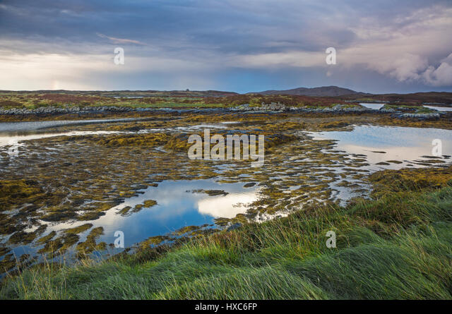 Tranquil lake view, Loch Euphoirt, North Uist, Outer Hebrides - Stock Image