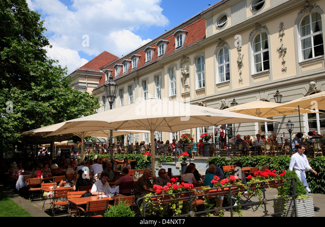 Restaurant and cafe OPERNPALAIS, Unter den Linden, Berlin Mitte, Germany - Stock Image
