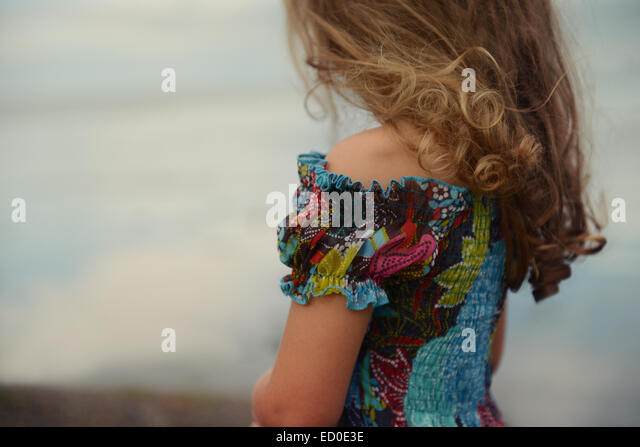 Mid section of blond girl (4-5) - Stock Image