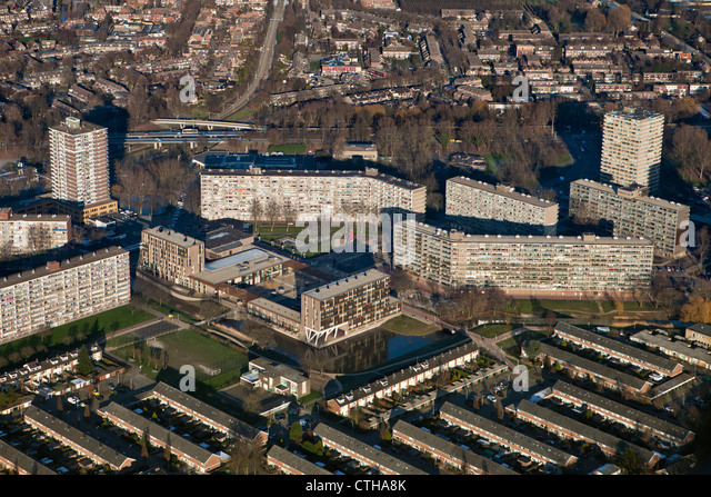 The Netherlands, Zoetermeer, City. Aerial. Apartment buildings. - Stock-Bilder