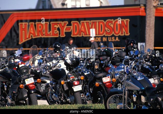 Daytona Beach Florida fl bike week Harley Davidson van group of hikes hogs parked - Stock Image