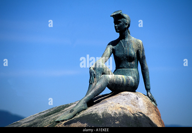 Vancouver Canada Stanley Park Girl in a Wet Suit Statue - Stock Image