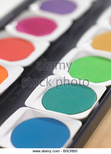 Close-up of watercolor paints - Stock-Bilder