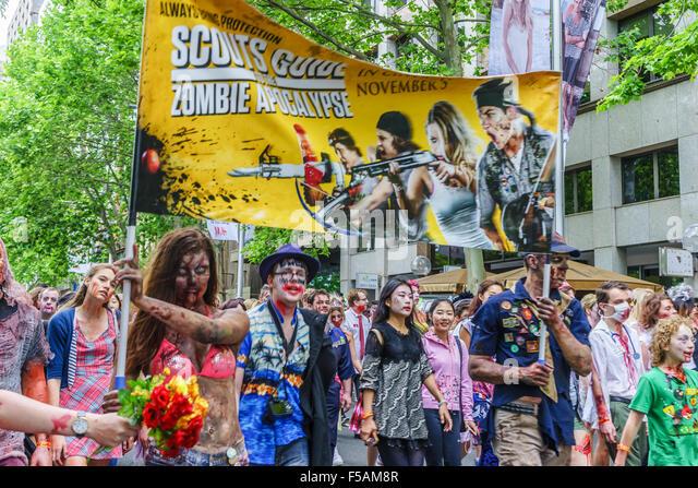 Sydney Zombie Walk raises awareness for The Brain Foundation. Halloween, 2015. - Stock Image