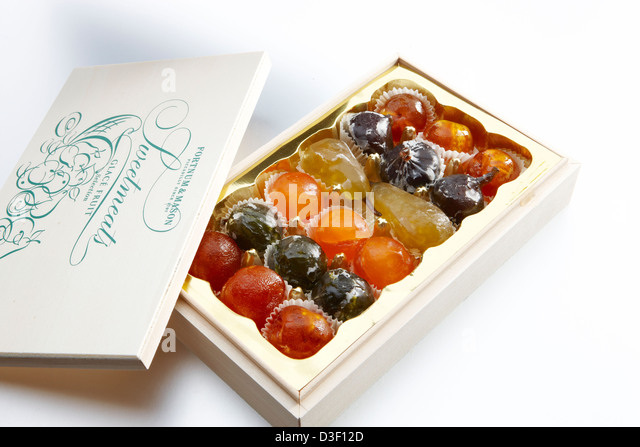 Wooden box Candied fruits - Stock Image