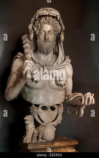 Commodus as Hercules 180 - 193 AD Marble cm 133  Roman Rome Capitoline Museum Italy Italian ( Heracles Greek God - Stock Image