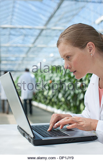Scientist using computer in greenhouse - Stock Image