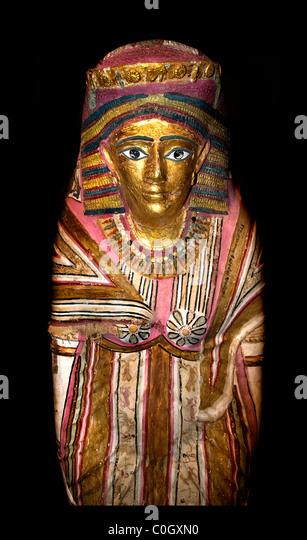 Anthropoid mummy case Egyptian burial ritual Egypt museum - Stock-Bilder