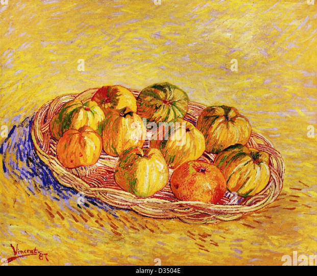 Vincent van Gogh, Still Life with Basket of Apples. 1887. Post-Impressionism. Oil on canvas. - Stock Image