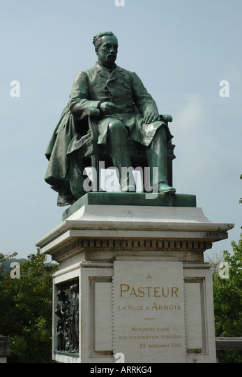 Statue of Louis Pasteur, renowned scientist and local hero, in Arbois in France's winemaking Jura region - Stock Image