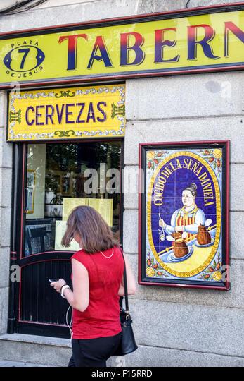 Spain Europe Spanish Madrid Centro Barrio de las Letras Plaza de Jesus neighborhood restaurant tavern beer - Stock Image