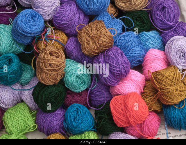 Colorful yard on sale in the public market in the town of Chichicastenango in the Highlands of Guatemala. - Stock Image
