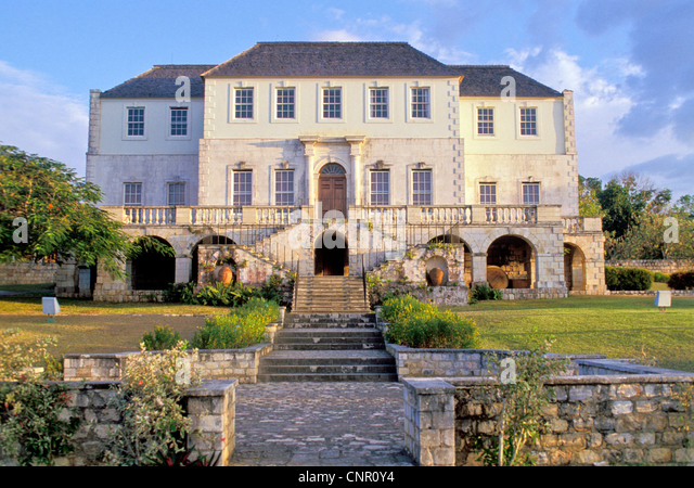 Jamaica Rose Hall Great House Exterior Front with staircase at twilight, major tourist attraction Montego Bay - Stock Image