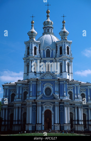 Russia former Soviet Union St. Petersburg Smolny Convent Cathedral cl Rococo style - Stock Image